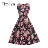 Floylyn Floral 50s 60s Vintage Dresses Audrey Hepburn Sleeveless 2017 Summer Retro Dress Vestidos Robe Womens Clothing