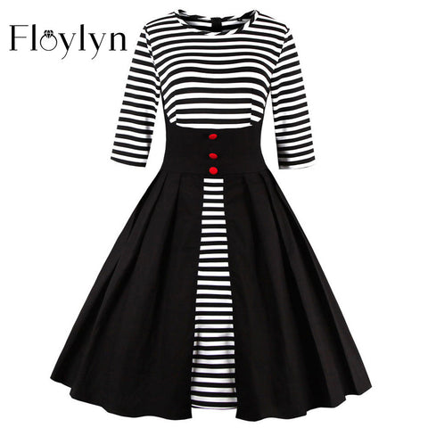 FLOYLYN Half Sleeve Spring Autumn Dress S-5XL Plus Size Big Swing 50s Retro Vintage Dresses Patckwork Striped Black Dress