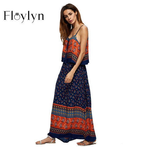 Floylyn Long Maxi Dresses Women Boho Vestidos Summer Beach Dress