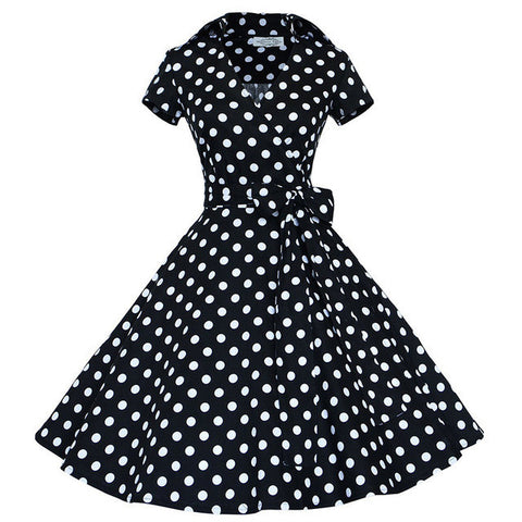 Plus Size Women Retro Dress 50s 60s