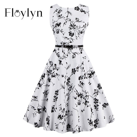 FLOYLYN Women Flowers 1950s 60s White Dress 4XL Plus Size Belt Floral Dress Summer Vintage Tunic Swing Dresses