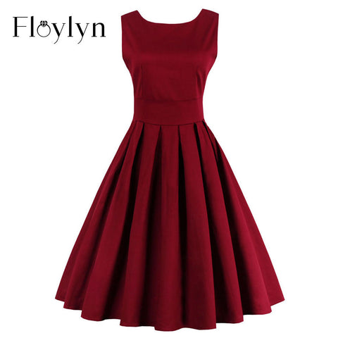 FLOYLYN Summer Dress 2017 Vintage Rockabilly Dresses Jurken 60s 50s Vintage Big Swing Pinup Audrey Hepburn Dress