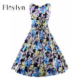 Floylyn Vintage Dress Summer Sleeveless Elegant Party Dresses 50s 60s  Dresses Women Audrey Hepburn Style Retro Vestidos