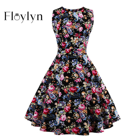 FLOYLYN Vintage Gorgeous Floral Women Dress Sleeveless Summer Plus Size 50s Style Rockabilly Bow Swing Dresses