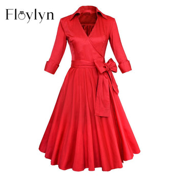 FLOYLYN Women Vintage Dress Plus Size Spring Retro 60s Rockabilly Date Dress Party Swing Black Pot Dresses Feminino Vestidos