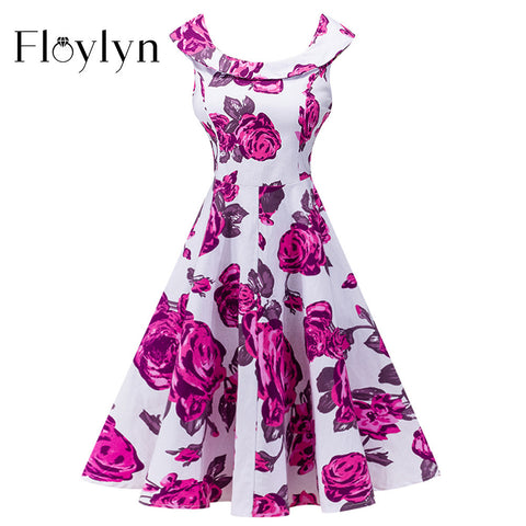 FLOYLYN Women Vintage Robe Femme O-Neck Floral Print Swing Causal Party Dress Audrey Hepburn Style 50s Rockabilly Dresses