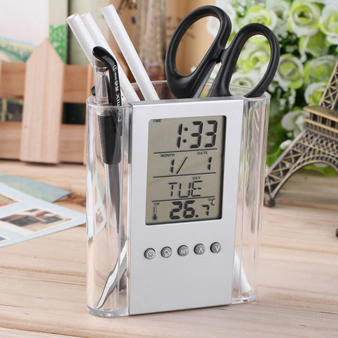 2017 NEW Digital Desk Pen/Pencil Holder LCD Alarm Clock Thermometer&Calendar Display Home Use