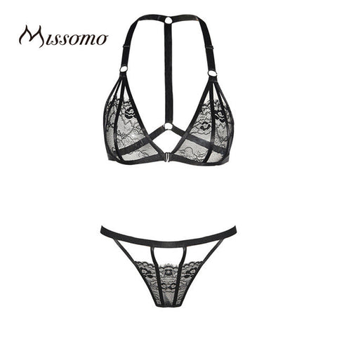 Missomo 2017 New Fashion Women Black Sexy Lace Underwear Trim Thong Panties Adjustable Straps Bralette Fitted Bra Sets