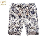 MIUK Large Size Linen Floral Beach Shorts 4XL Summer Style Fashion  Bermuda Masculina Knee Length Casual Hawaii Men 2017 New