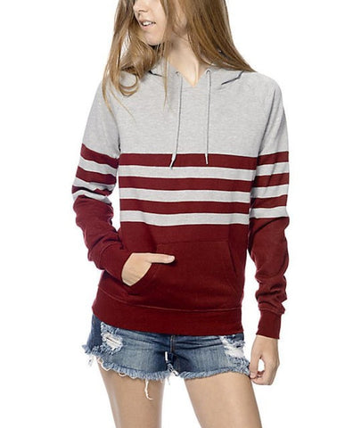 Autumn Winter Fashion Women 's Casual Patchwork Hooded Sweatshirt Women's 100% Cotton Top Blouse