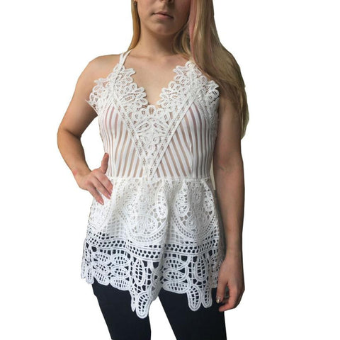 Sexy Women Lace Blouse Summer Sleeveless Hollow Fashion Solid Loose Shirt Blouse white Blouse tops