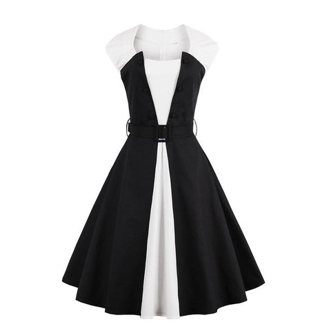 Floylyn Vintage Dress Patchwork Style 1950s Black White A-line Women Sexy Party Dresses Summer Sleeveless 2017 New Vintage Dress