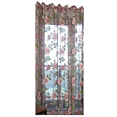 Purple Peony Flower Bedroom Living Room Bay Window Balcony Decorative Modern Style window Curtain Window Screens Home Textile