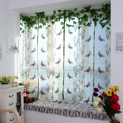 Romantic Bedroom Butterfly Curtain Pulling Curtains Bay Window Balcony  Fan Shaped Embroidery Curtain Screening For
