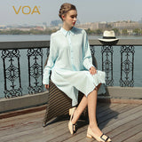 VOA Brand Women Blouses Summer 2017 Silk Sky Blue Long Sleeves Turn-Down Collar Plus Size Women Clothing B7710