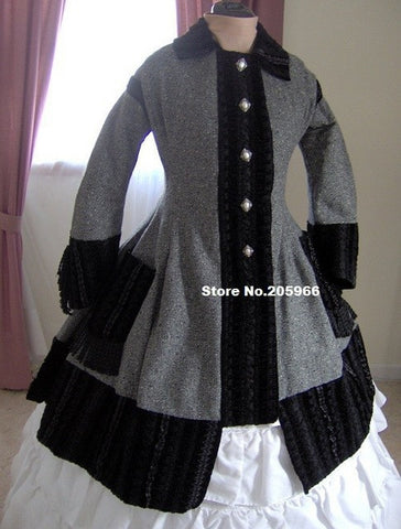 1860s Civil War Overcoat Jacket - Black Gray Tweed - Velvet Trim - Reenactor Costume Women's Winter Clothing