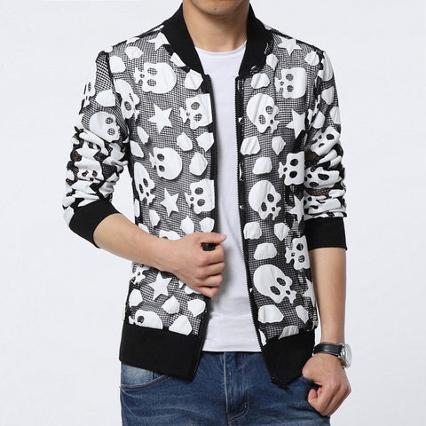 Brand Clothing Jacket Men Net Design Sunscreen Clothing Fashion Skulls Pattern Veste Homme Breathable Slim Fit Baseball Jacket