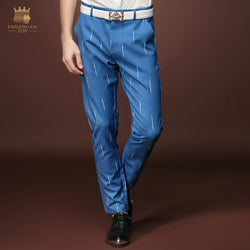Free Shipping New Male fashion man's Men casua summer men's pants nine new blue jeans slim blue stripe youth tide 15827