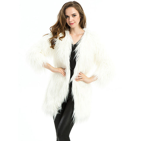 Fashion New Winter Warm White Faux Fur Jacket Long Sleeve Long-haired Slim Cardigan Women Fur Coat Elegant Coats Female S-XL