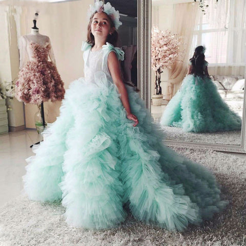 Tulle Flower Girl Dress Ruffles Court Train Kids Wedding Party Gowns Robe De Soiree Lovey Elegant Princess Dress