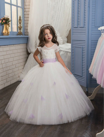 Flower Girls Dresses for Wedding White Girls Ball Gown Lace vestido longo Long communion Gown Ankle-Legth Kids Evening Gowns