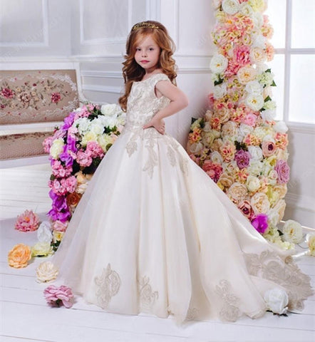 Arabic 2017 Floral Lace Flower Girl Dresses Ball Gowns Child Pageant Dresses Long Train Beautiful Kids First Communion Dress