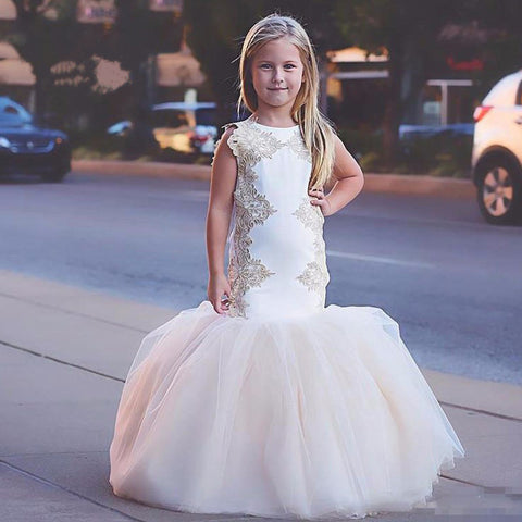 2017 New Vintage Flower Girl Dresses for Weddings Mermaid Beading Lace Tulle Kids Pageant Party Gown Communion Dress White Ivory