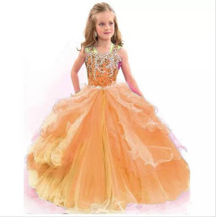 New Ball Gown Spaghetti Straps Flower Girl Dresses Beads Crystal Kids Pageant Dress Tulle Ruffles First Communion Dress