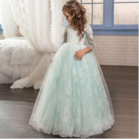 2017 NEW Baby Princess Flower Girl Dress Lace Appliques Ball Gowns ...