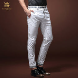 Free Shippingnew Male fashion man's casual Slim 2015  summer thin white men's ninth pants 15817 character embroidery on sale