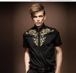 Free shipping new casual men's male short sleeved summer wind shirt collar stitching court wind 13260 on sale
