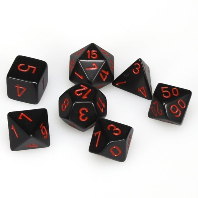 Opaque Poly 7 Set: Black/Red