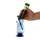 Acrylic Pistol Grip Bong Green and Blue