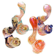 Glass Inside-Out Worked Sherlock Pipe