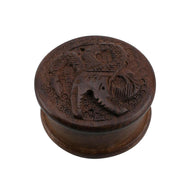 Wooden Herb Grinder Carved Dragon