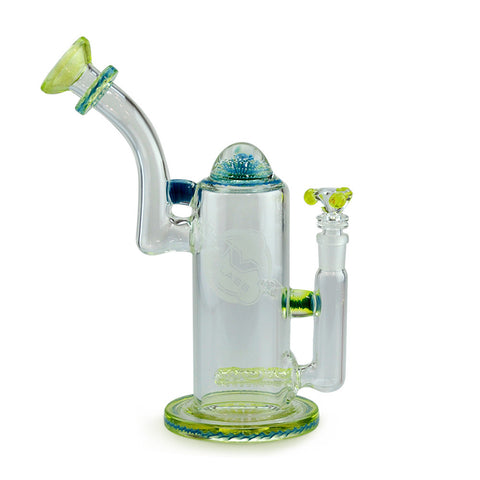 Colour Wrap Bubbler with Top Marble Detail Worked Inline Perc and Illuminati Glow