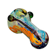 Glass Spoon Pipe Double Marbles Blue Multi Colors with Red Candy Cane Stripe