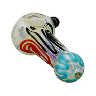 Glass Spoon Pipe Single Marble Red White Blue and Black