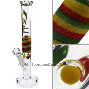 Cane Straight Glass Bong Rasta