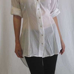 Open Back Tail Linen Blouse