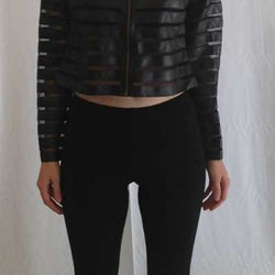 Lace Faux Leather Crop Jacket