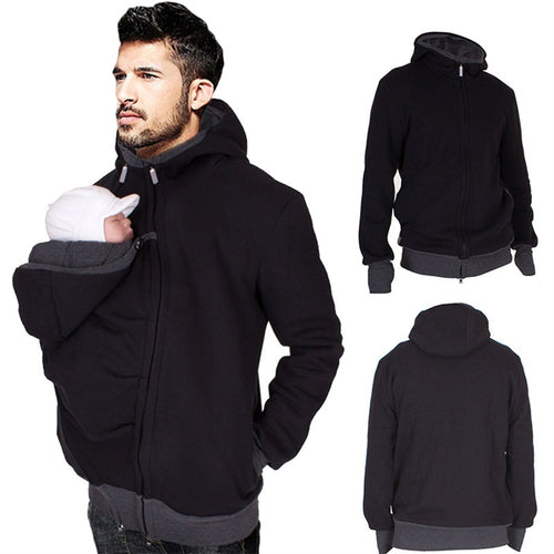 Dad Kangaroo Cotton Baby Carrier Jacket With Hoodies