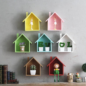 Colorful Creative House Shaped Wooded  Wall Mounted Shelf,Home Decorators,[tags] - DeliteShopping