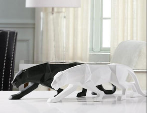 Modern White Black Leopard Sculpture Geometric Statue Wildlife Home Decor Animal Ornament,,[tags] - DeliteShopping