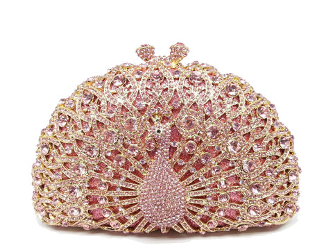 Enchanting Pink Crystal Peacock Clutch Bag,,[tags] - DeliteShopping