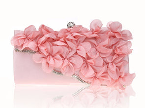 Crystal Pink Flower Evening Bag,,[tags] - DeliteShopping