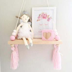 Wall Hanging Board Shelf With Tassel & Wooden Beads For Kids Nursery Room,,[tags] - DeliteShopping