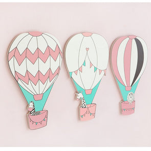 3D Wooden Hot Air Balloon Wall Sticker Kids Room Decoration,Home Decorators,[tags] - DeliteShopping