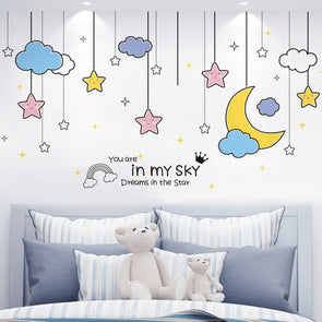 Beautiful Moon Stars Clouds Wall Stickers Wall Decor