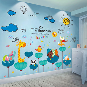 Colorful Cartoon Animals With Clouds and Sun Wall Stickers For Baby/ Kids Room